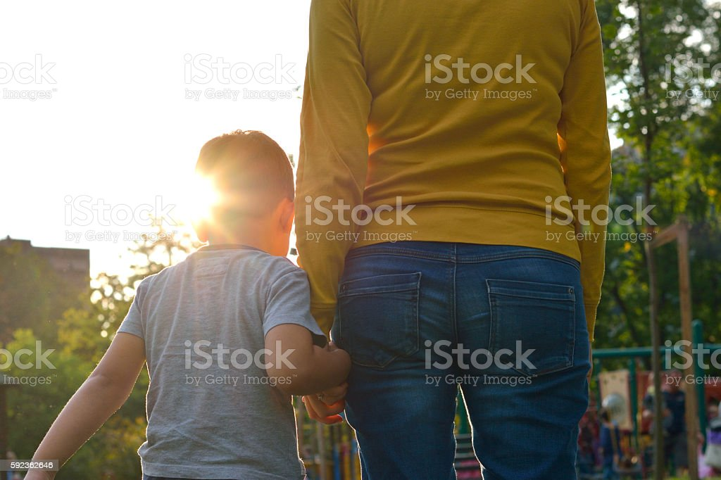 Mother And Son are Going to Playground – Foto