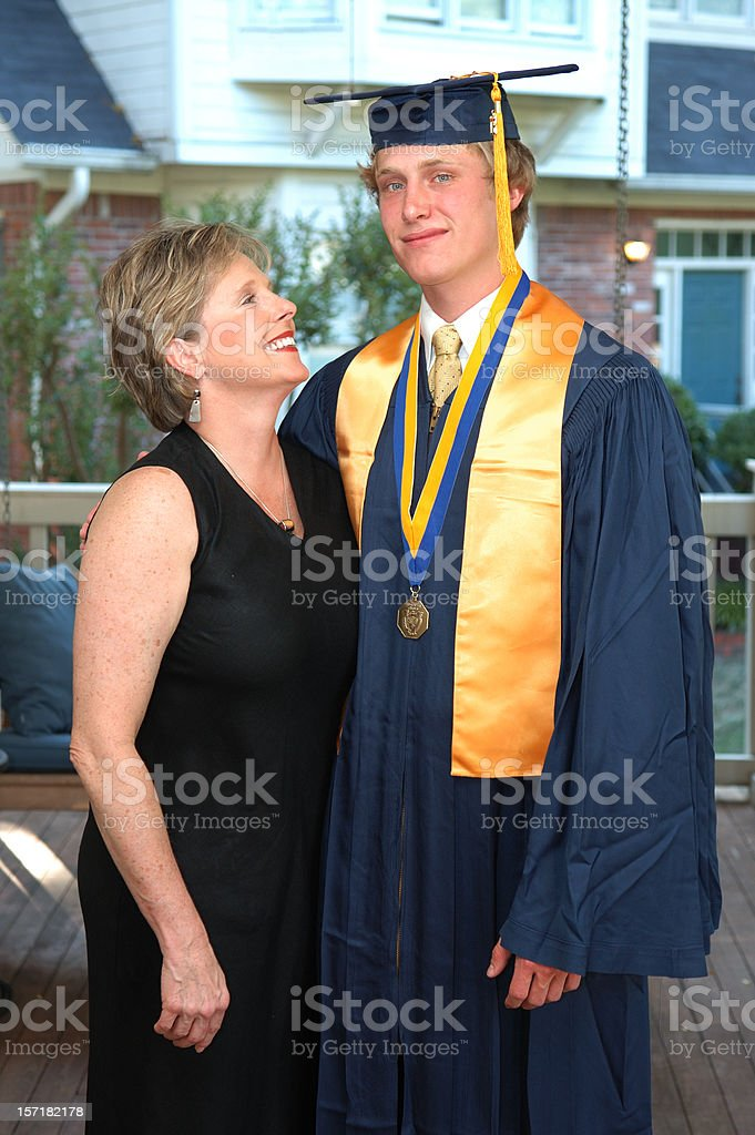 Mother and Son at Graduation royalty-free stock photo