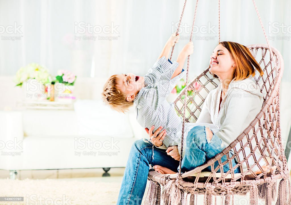 Mother and son at home royalty-free stock photo