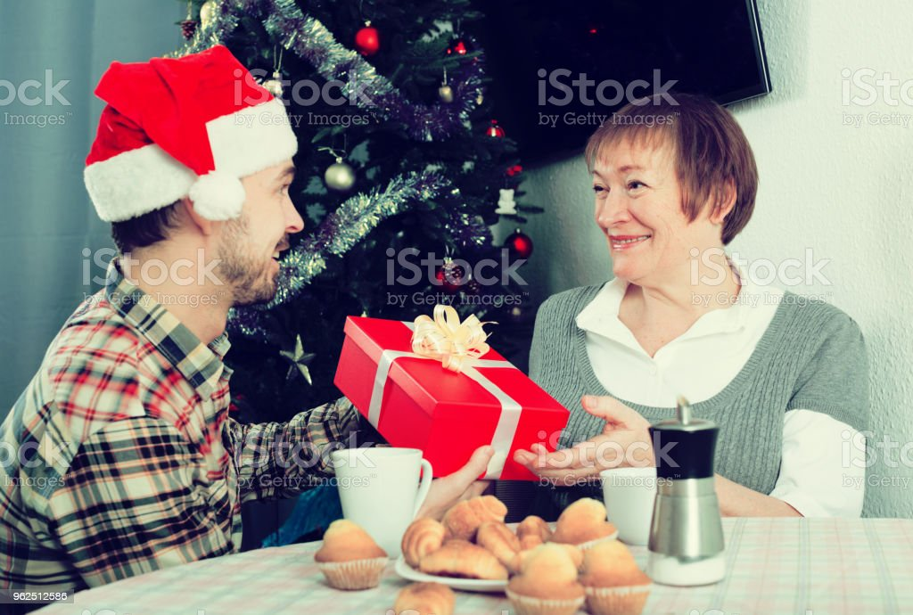 Mother and son Christmas gifts - Royalty-free 30-34 Years Stock Photo