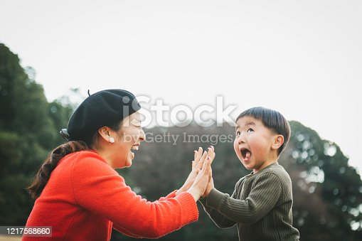 istock Mother and son doing a high-five 1217568660