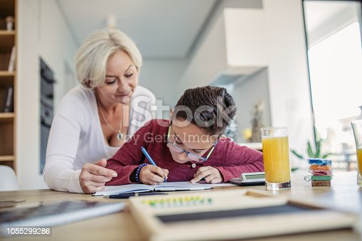 680535874 istock photo Mother and son doing homework 1055299286