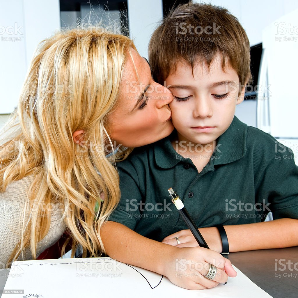 Mother and Son Doing Homework royalty-free stock photo