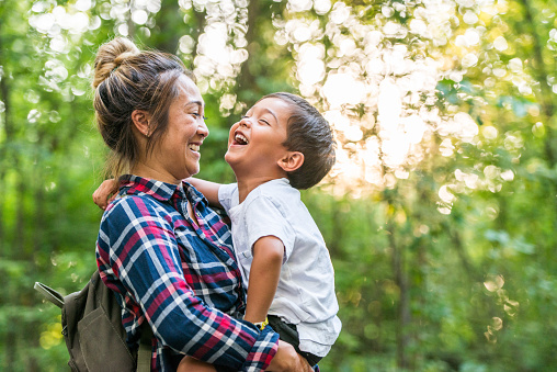 Mother And Son Enjoy Time in Nature stock photo