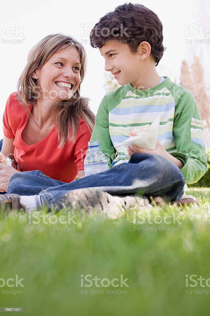 Mother and son having lunch royalty-free stock photo