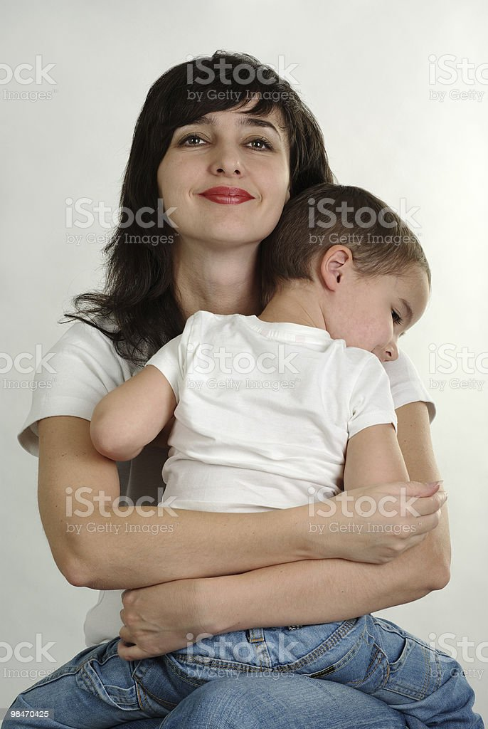 Mother and son hugging royalty-free stock photo