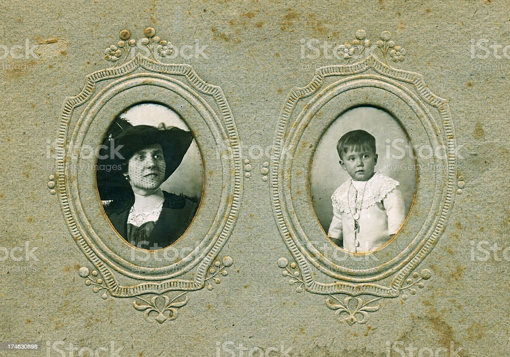 Mother and son in 1913 stock photo