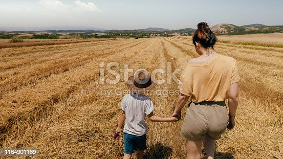 1094815168 istock photo Mother and son in a field of grain 1164901169