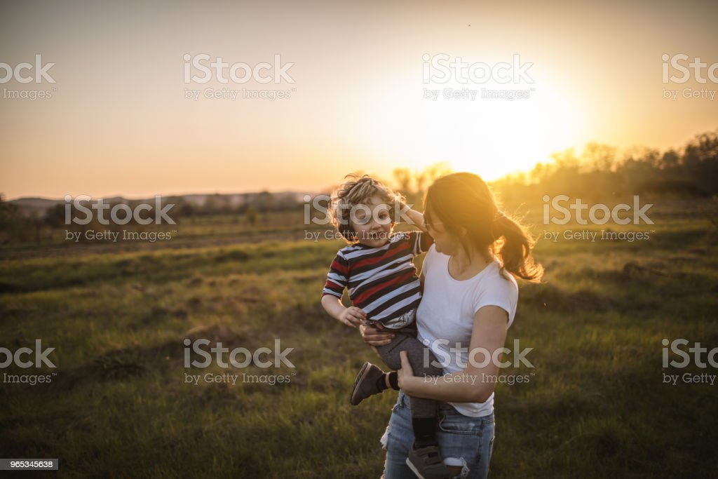 Mother and son in nature royalty-free stock photo