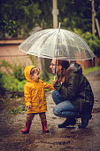 Mother and son in raincoats under umbrella in rain