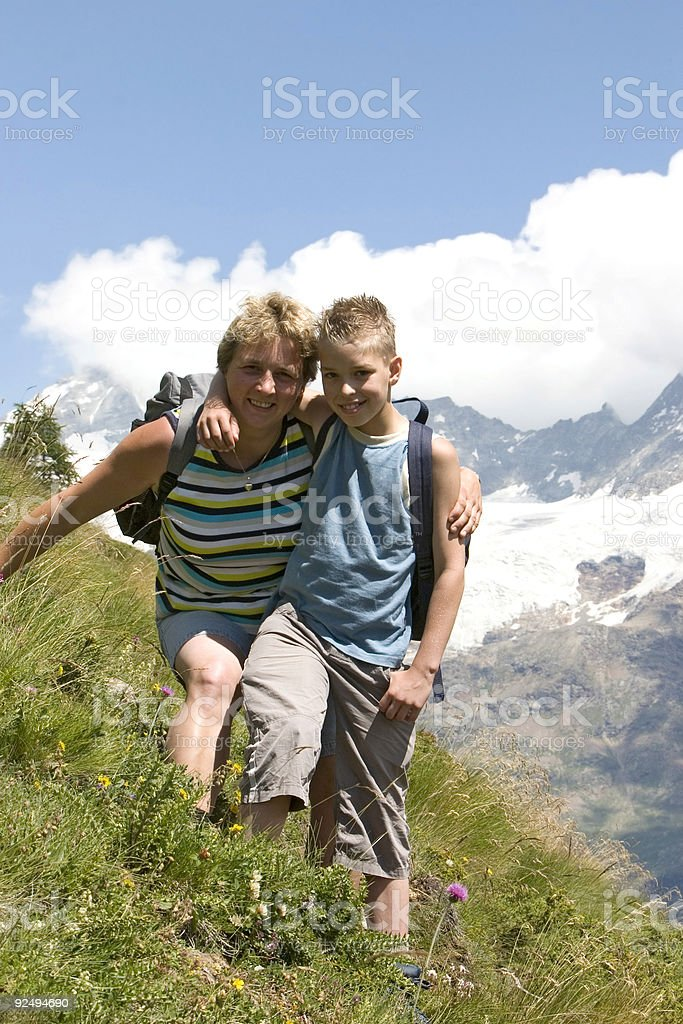 Mother and son in the mountains royalty-free stock photo