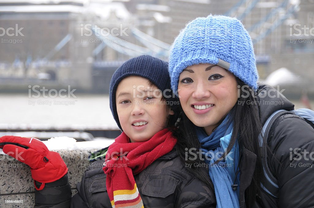 Mother and Son in Winter royalty-free stock photo