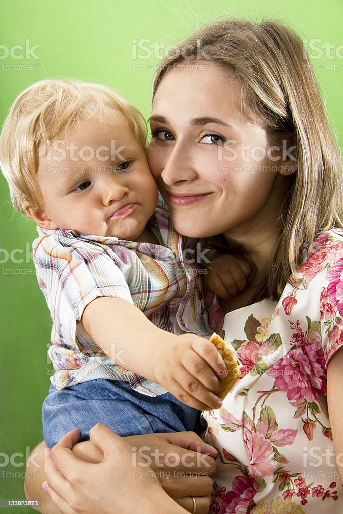 Mother and  Son isolated on white. stock photo