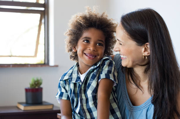 Mother and son laughing stock photo