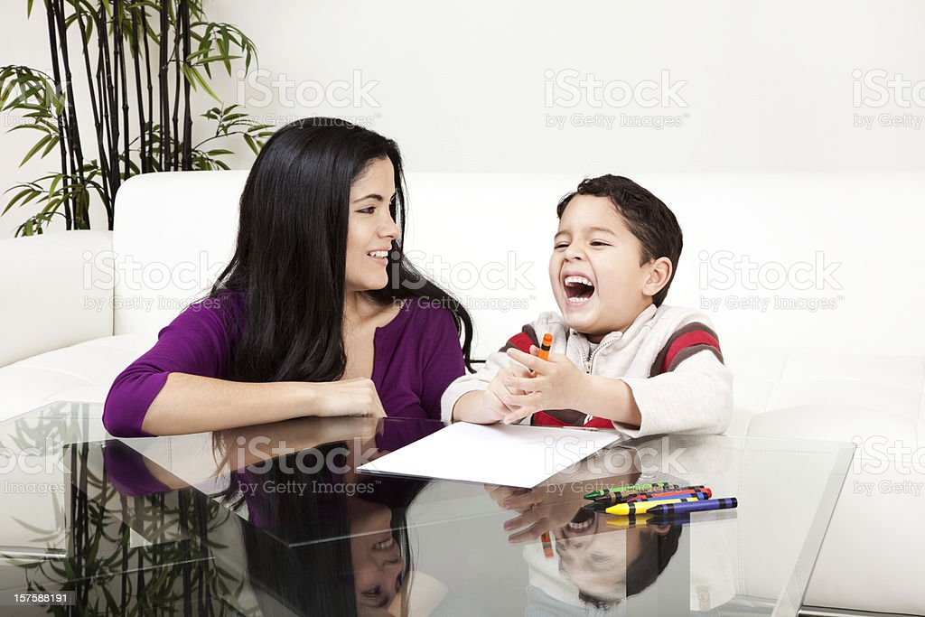 Mother and Son Leisure Time at Home royalty-free stock photo