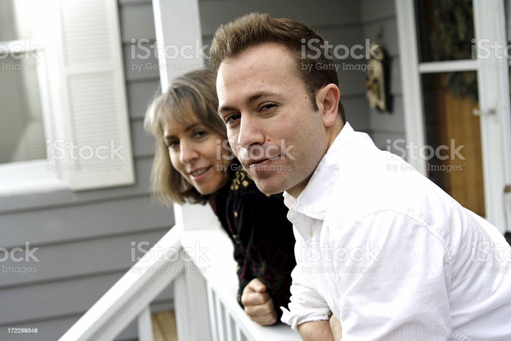 mother and son looking at you royalty-free stock photo