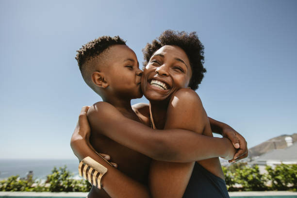 Mother and son love stock photo