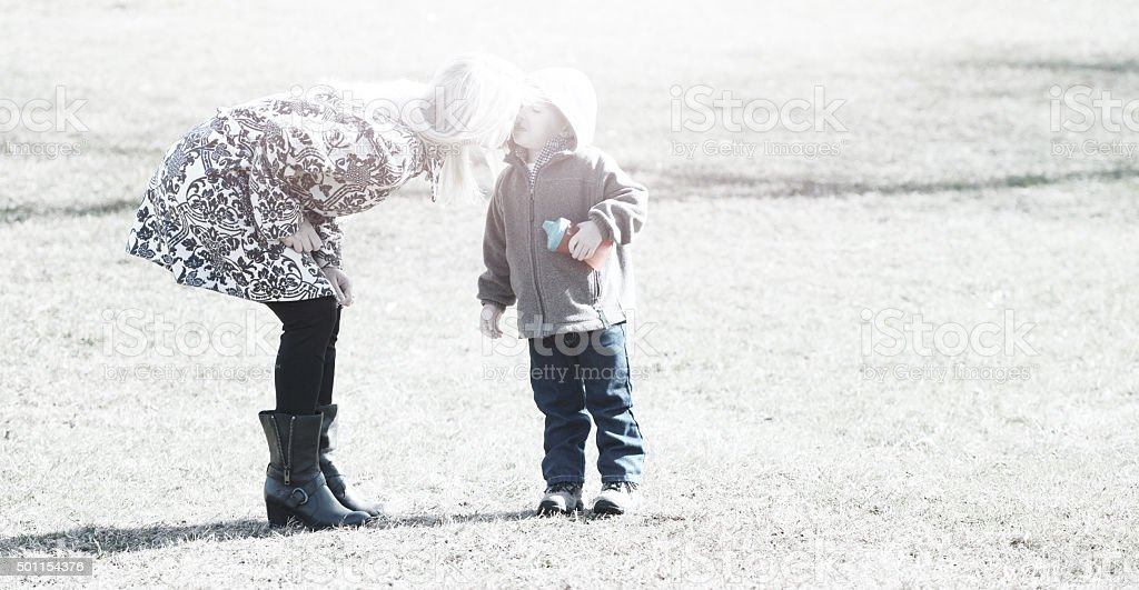 Mother and son moment stock photo