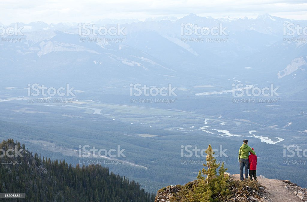 Mother and Son on a Mountain stock photo