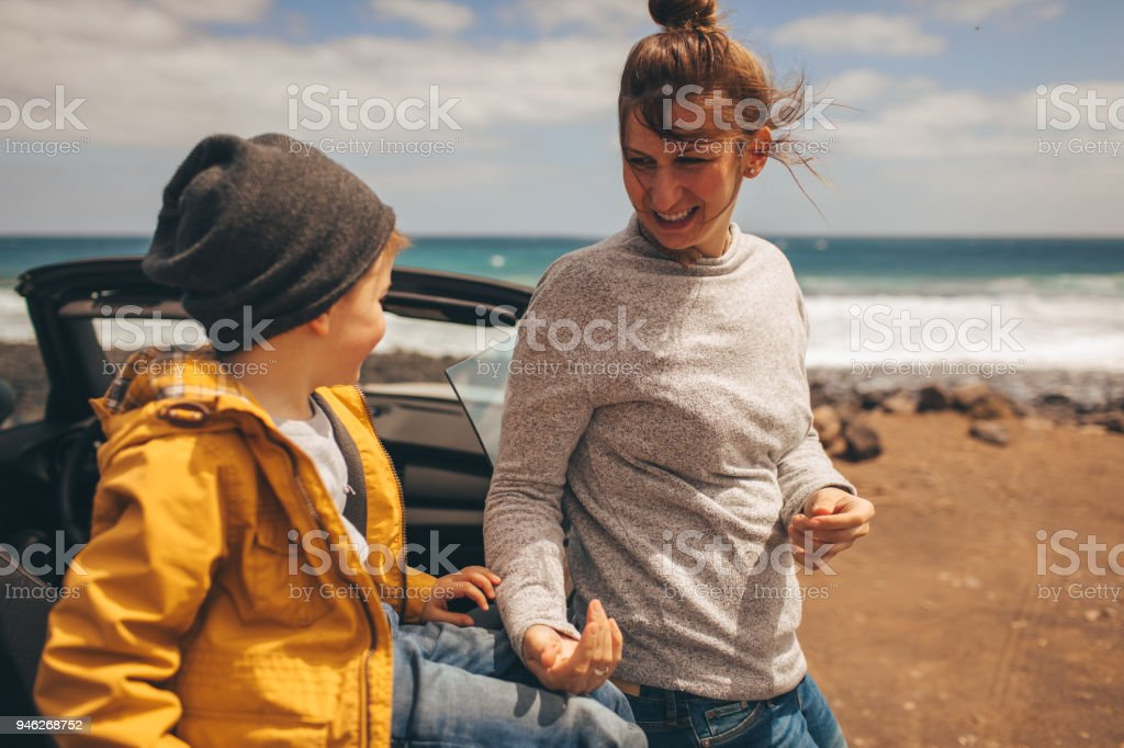 Mother And Son On A Road Trip Stock Photo & More Pictures of