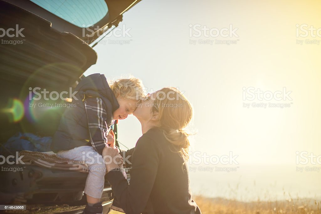 Mother and son on the road trip stock photo