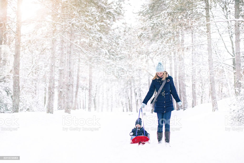 Mother and son on the snow stock photo
