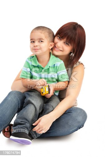 471164880 istock photo Mother and Son on White 176074794