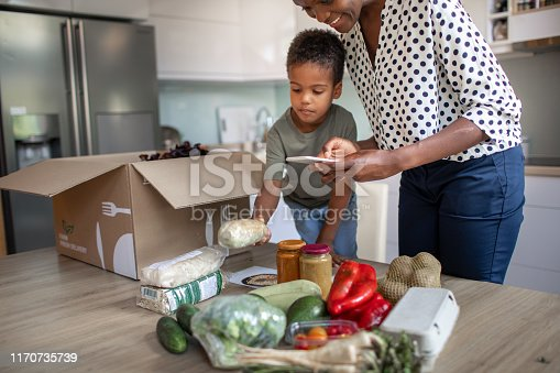 istock Mother And Son Opening Parcel With Meal Kit 1170735739
