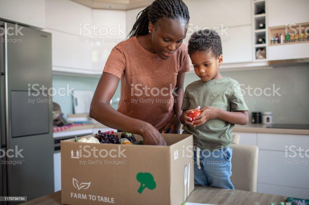母と息子はミールキットで小包を開きます - 2人のロイヤリティフリーストックフォト
