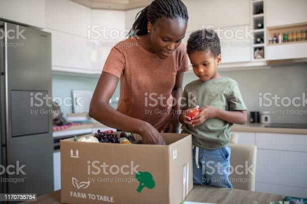 Mother And Son Opening Parcel With Meal Kit Stock Photo - Download Image Now