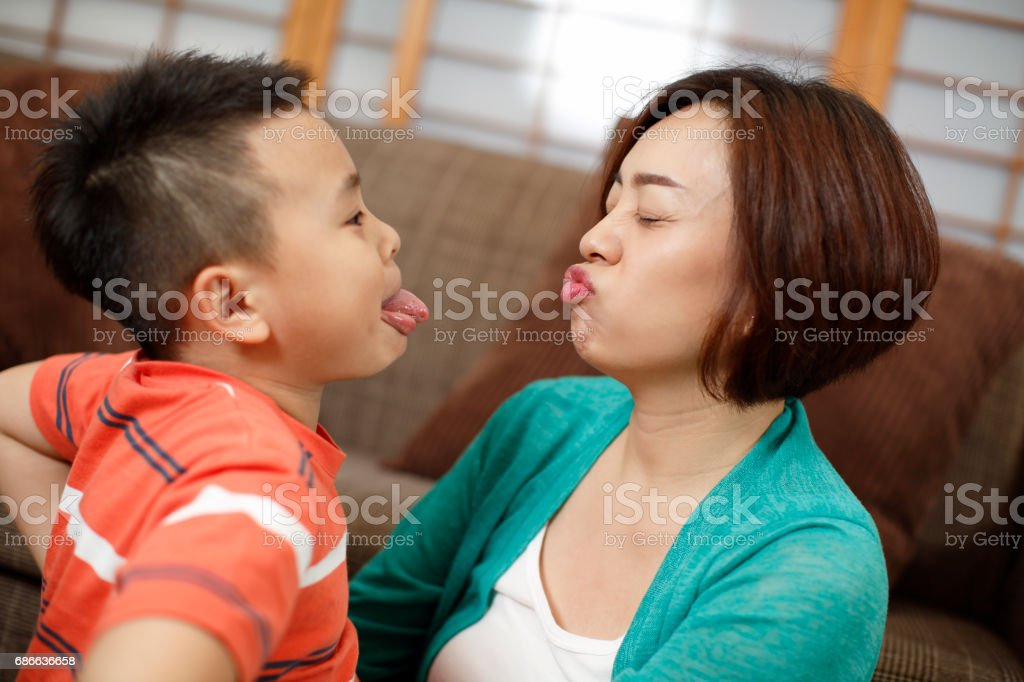Mother and son play at home royalty-free stock photo