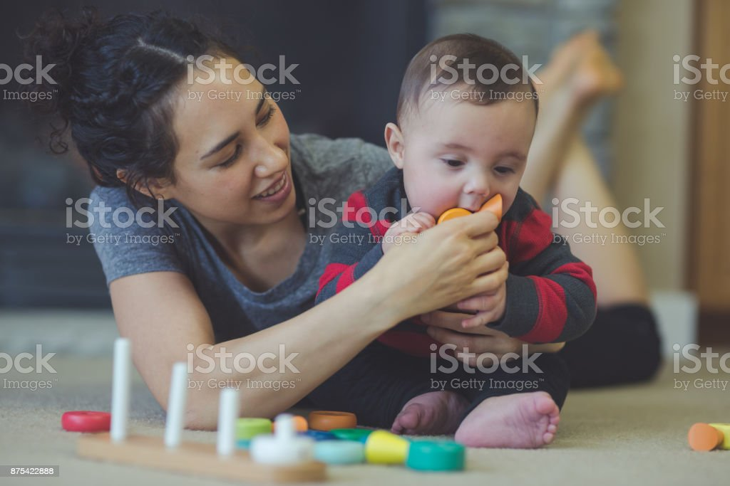 Mother and son playtime in the living room! stock photo