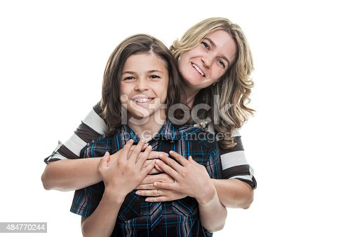 istock Mother and son portrait studio over a white background 484770244