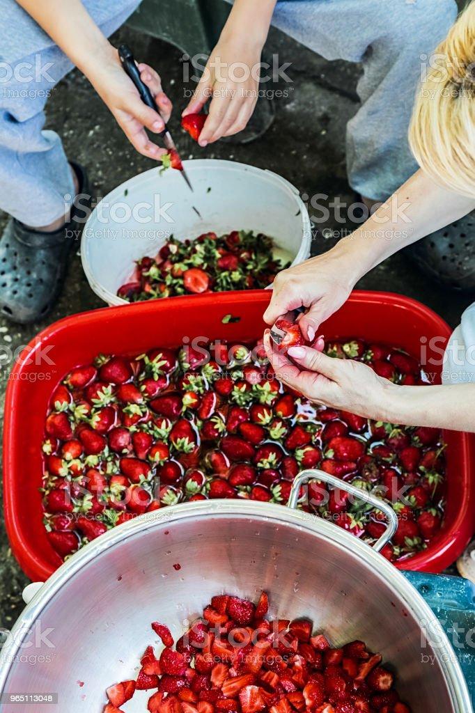 Mother and Son preparing strawberries for making jam zbiór zdjęć royalty-free
