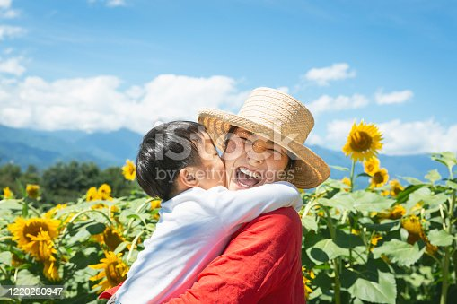 Asian mother carrying her son in front of sun flower fields.