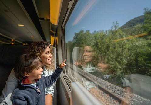 Portrait of a happy mother and son riding on the train and looking through the window while pointing away - transport concepts