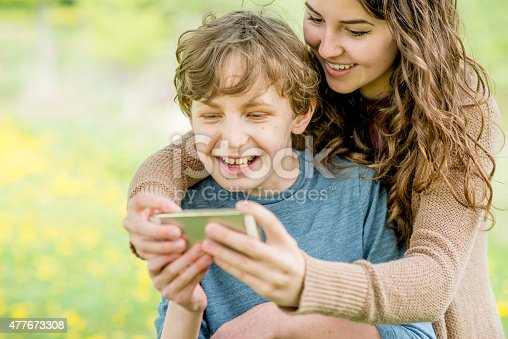 istock Mother and Son Taking a Selfie 477673308