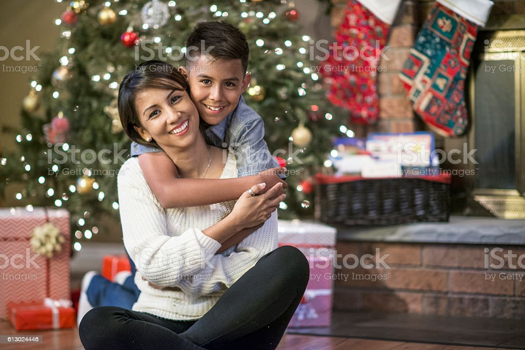 Mother and Son Together at Christmas stock photo