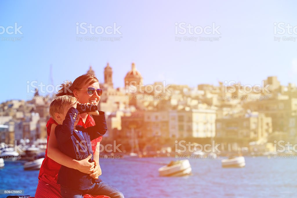 mother and son travel in Malta, Europe stock photo