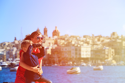 Mother And Son Travel In Malta Europe Stock Photo - Download Image Now