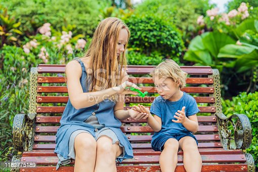 istock Mother and son using wash hand sanitizer gel in the park before a snack 1182775189