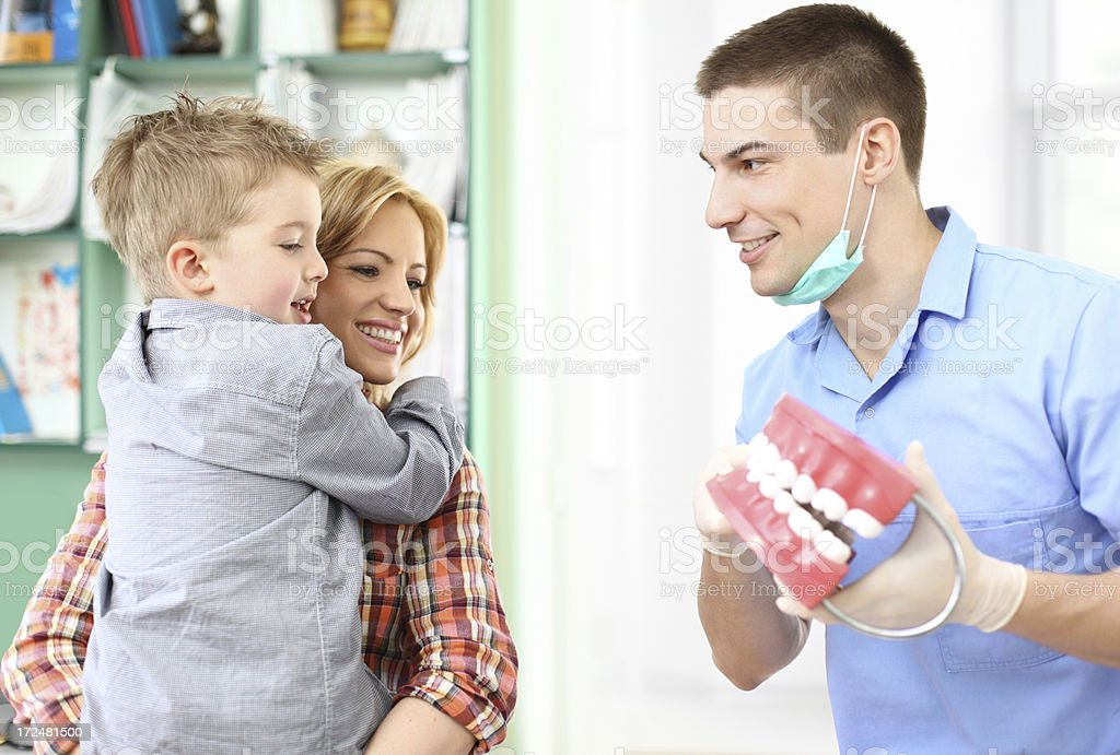 Mother and son visitng dentist. stock photo