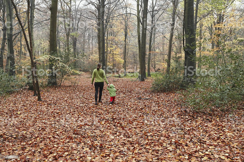 Mother and son walking in autumn leaves stock photo