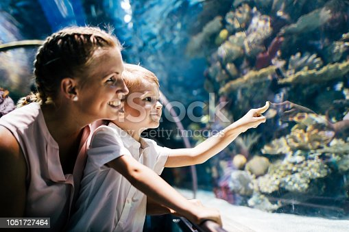 Fascinated mother and son watching sea life in oceanarium