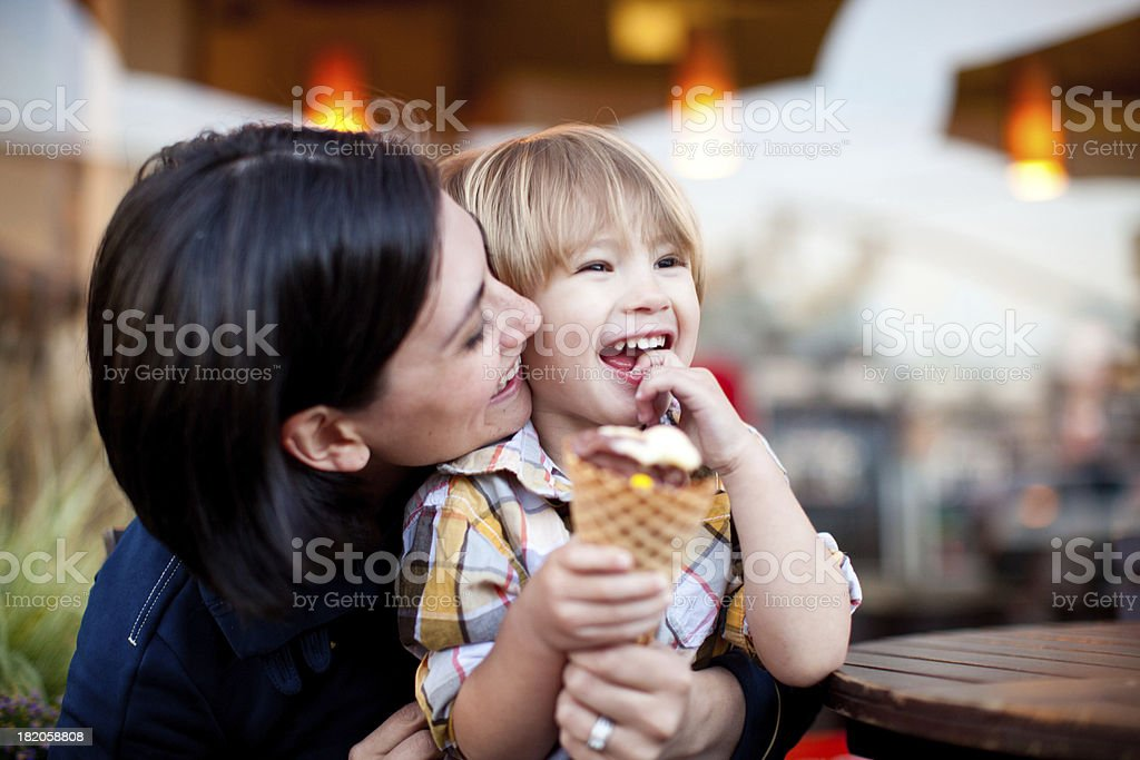 Mother and son with ice cream cone royalty-free stock photo