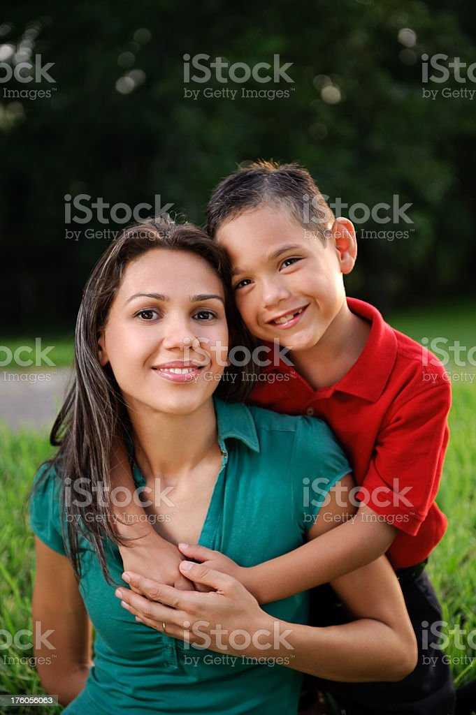 Mother and son's portrait stock photo