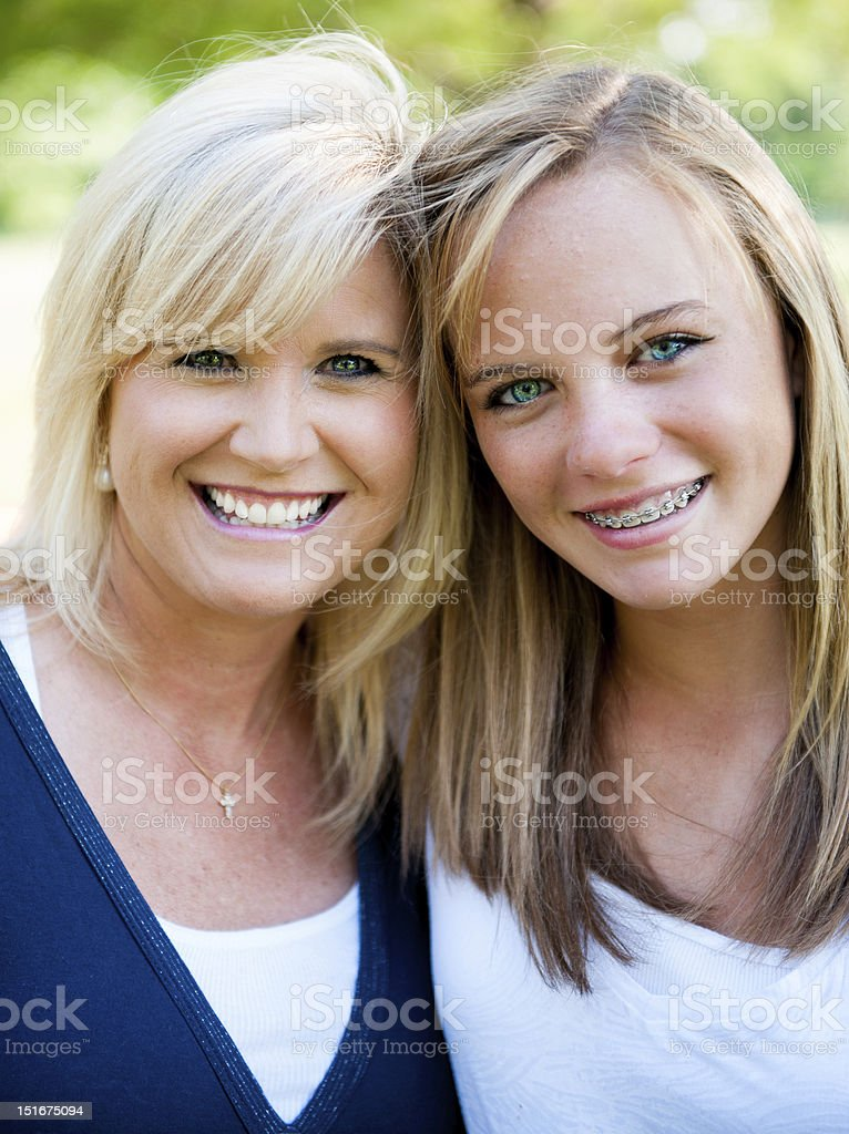 Mother and teenage daughter stock photo