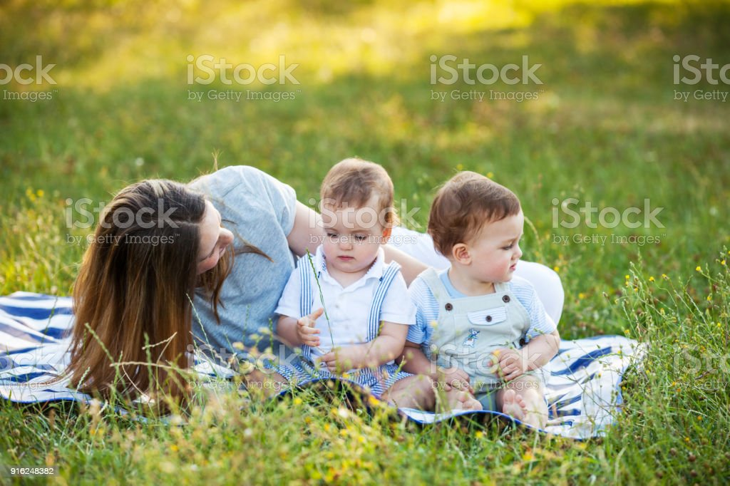 Mother and Twin Boys stock photo
