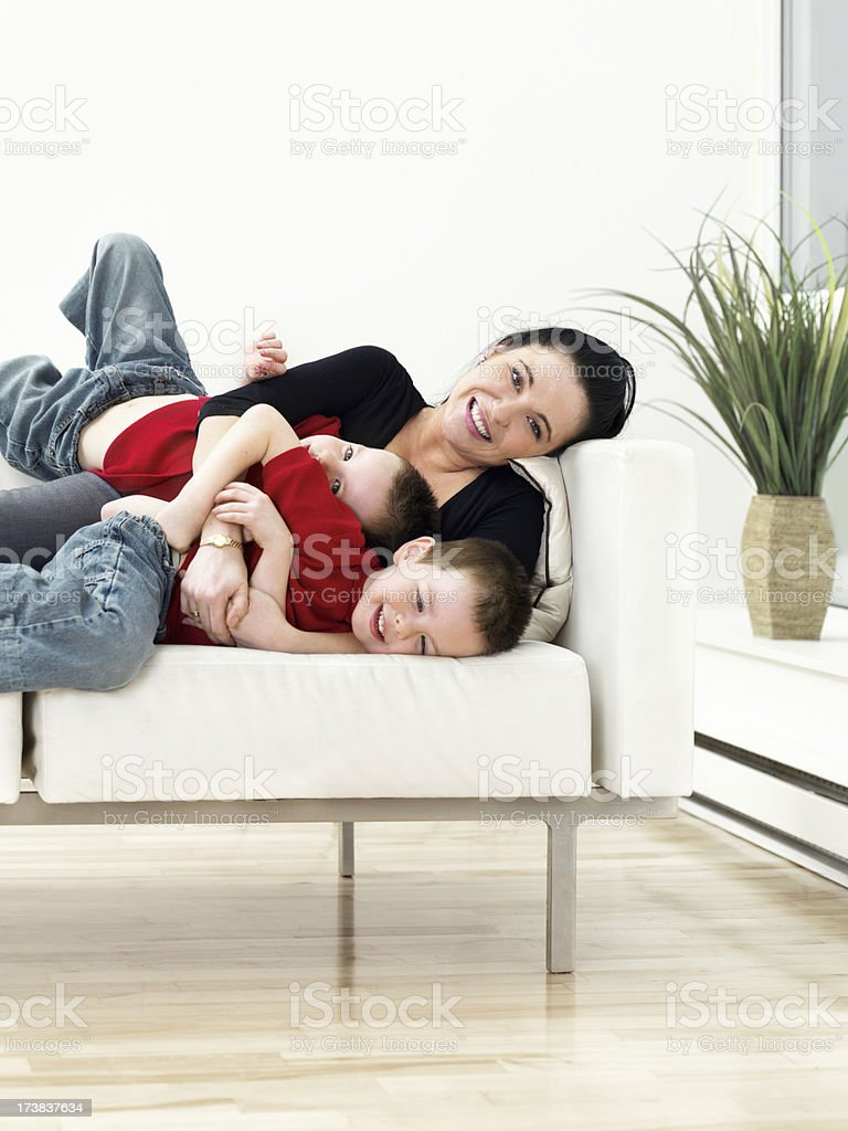 Mother and twins royalty-free stock photo
