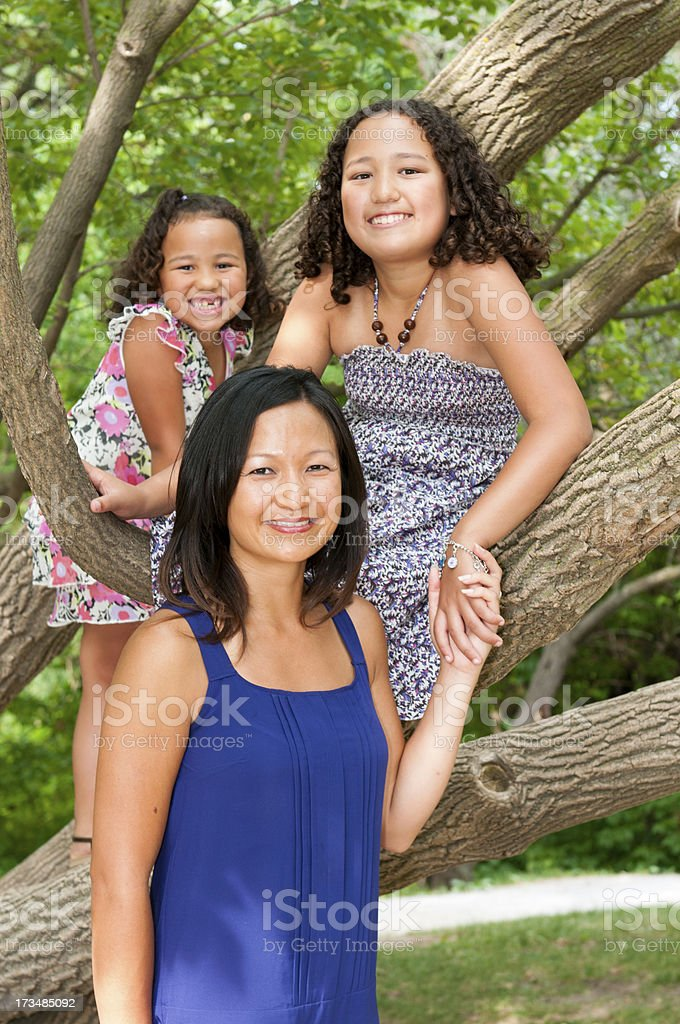 Mother and Two Daughters royalty-free stock photo